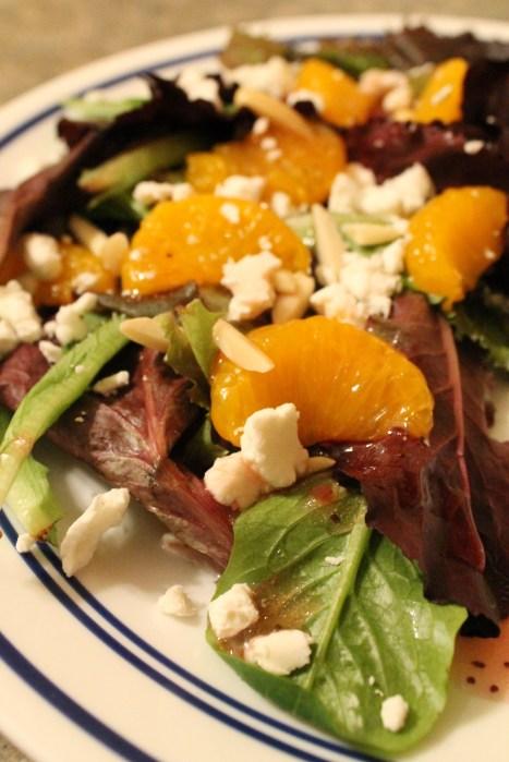 Mandarin and Goat Cheese Salad Closeup